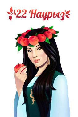 Digital portrait asian woman with apple on white background. Nauryz holiday poster