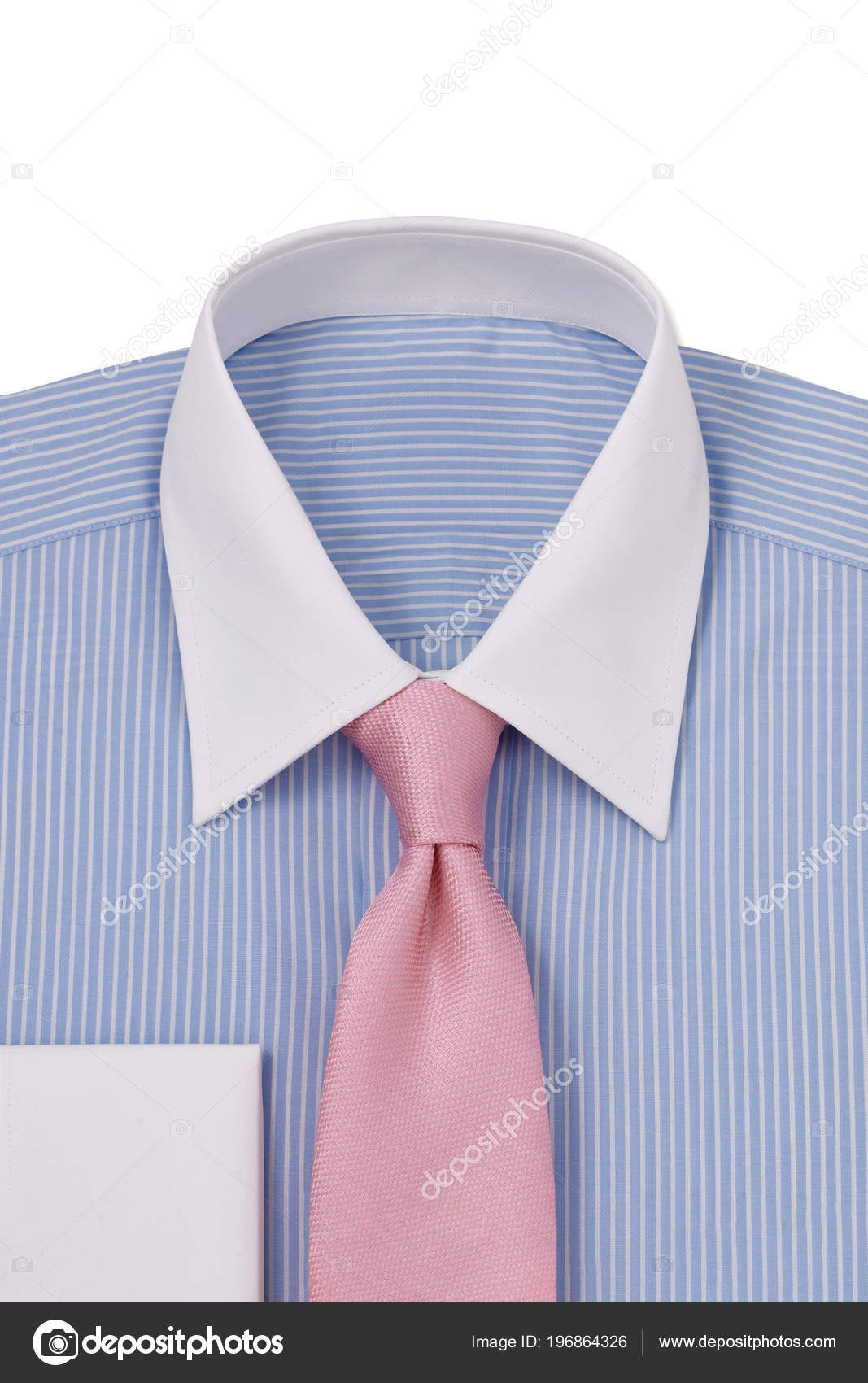 Blue Pinstriped White Collar Cuffs Folded Mens Dress Shirt Pink