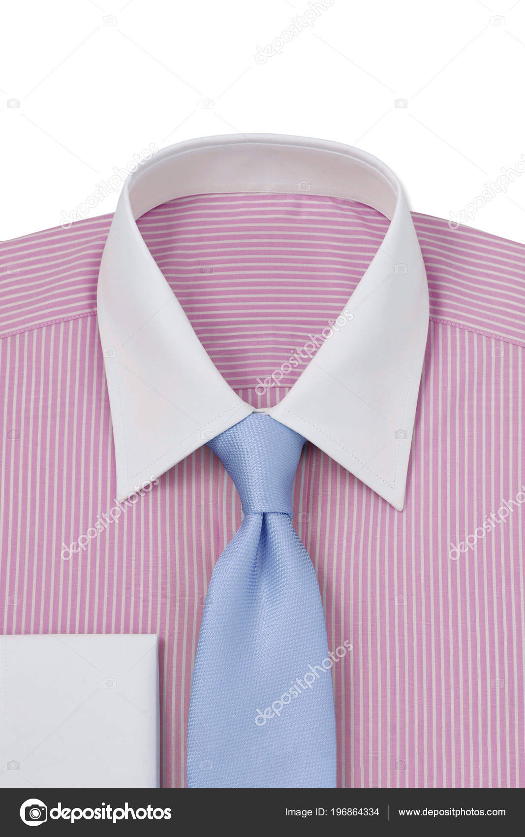 c03a39217271 Ένα Ροζ Ριγέ Λευκό Γιακά Και Μανσέτες Διπλωμένο Mens Φόρεμα– εικόνα αρχείου