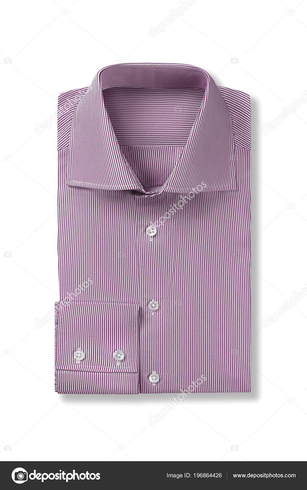 Una Camisa Vestir Para Hombre Doblado Rayas Rosa Aislada