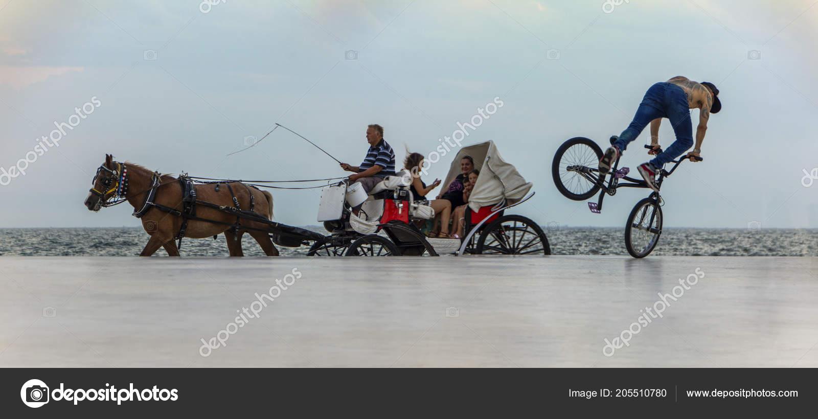 Thessaloniki Greece July 2018 Dynamic Scene Horse Coach