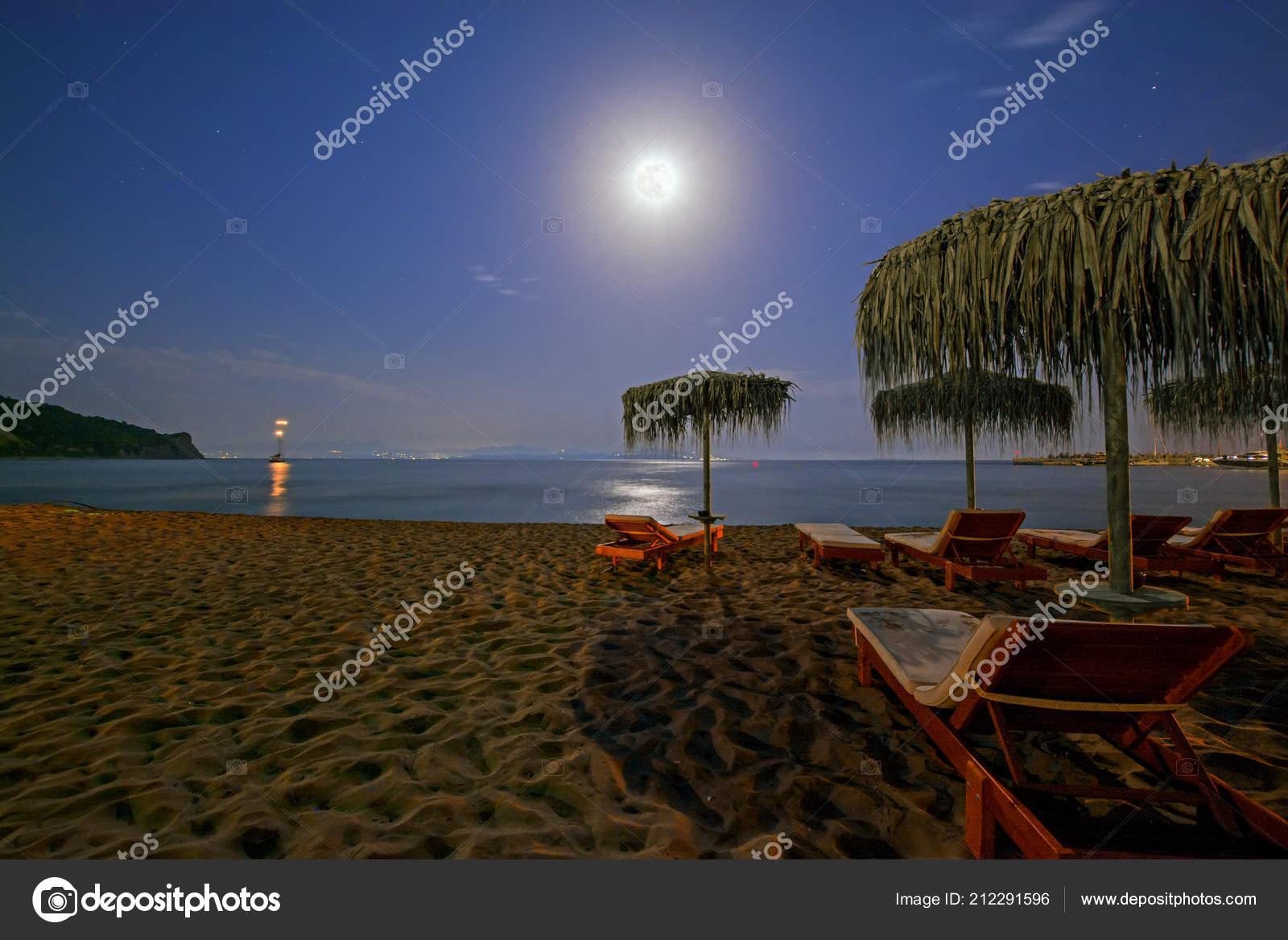 Full Moon Beach Umbrellas Beach Chairs Tropical Resort Night