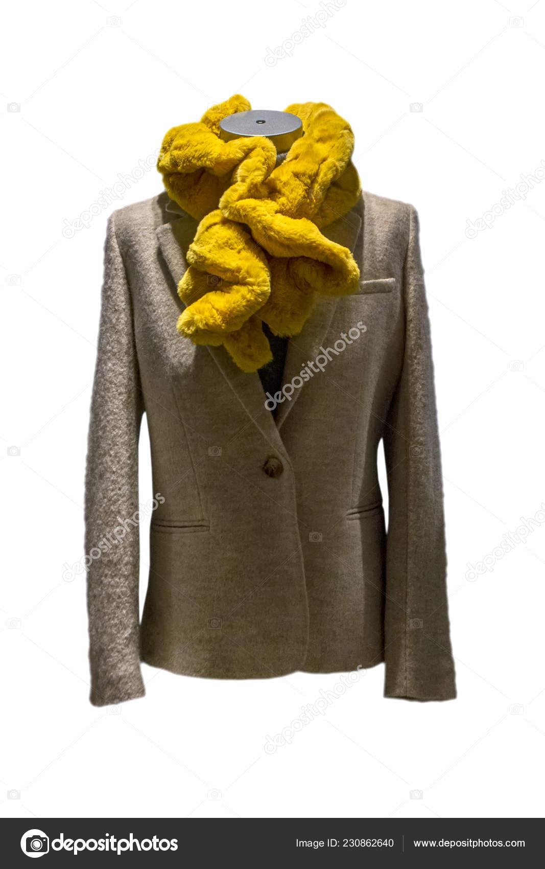 Stylish Female Yellow Scarf Beige Coat Mannequin Female Mannequin Muffler Stock Photo C Artavet 230862640