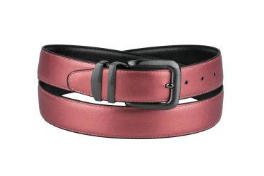 Fastened fashionable men's nacreous terracotta leather belt with dark matted metal buckle isolated on white background