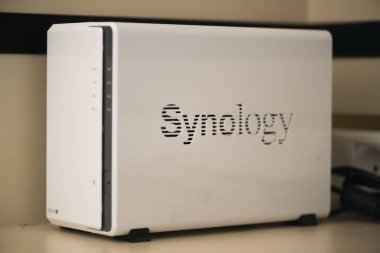Bratislava, Slovakia, july 3, 2018: Synology diskstation. Synology specializes in network attached storage (NAS) appliances
