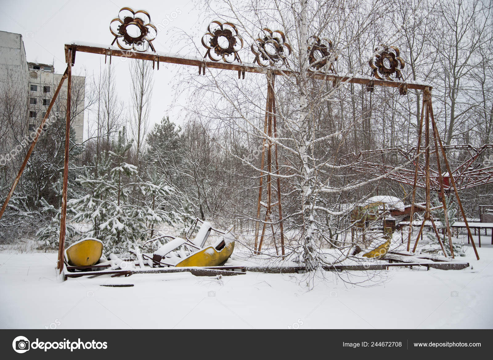 Abandoned Playground Covered Snow Chernobyl Stock Photo C Pe3check 244672708