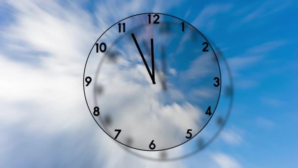 Átlátszó óra ketygő-ból öt-hoz tizenkettő-ra kék ég-val 3D hatás,-val egy terület illő körülbelül piros, jelző sürgősség