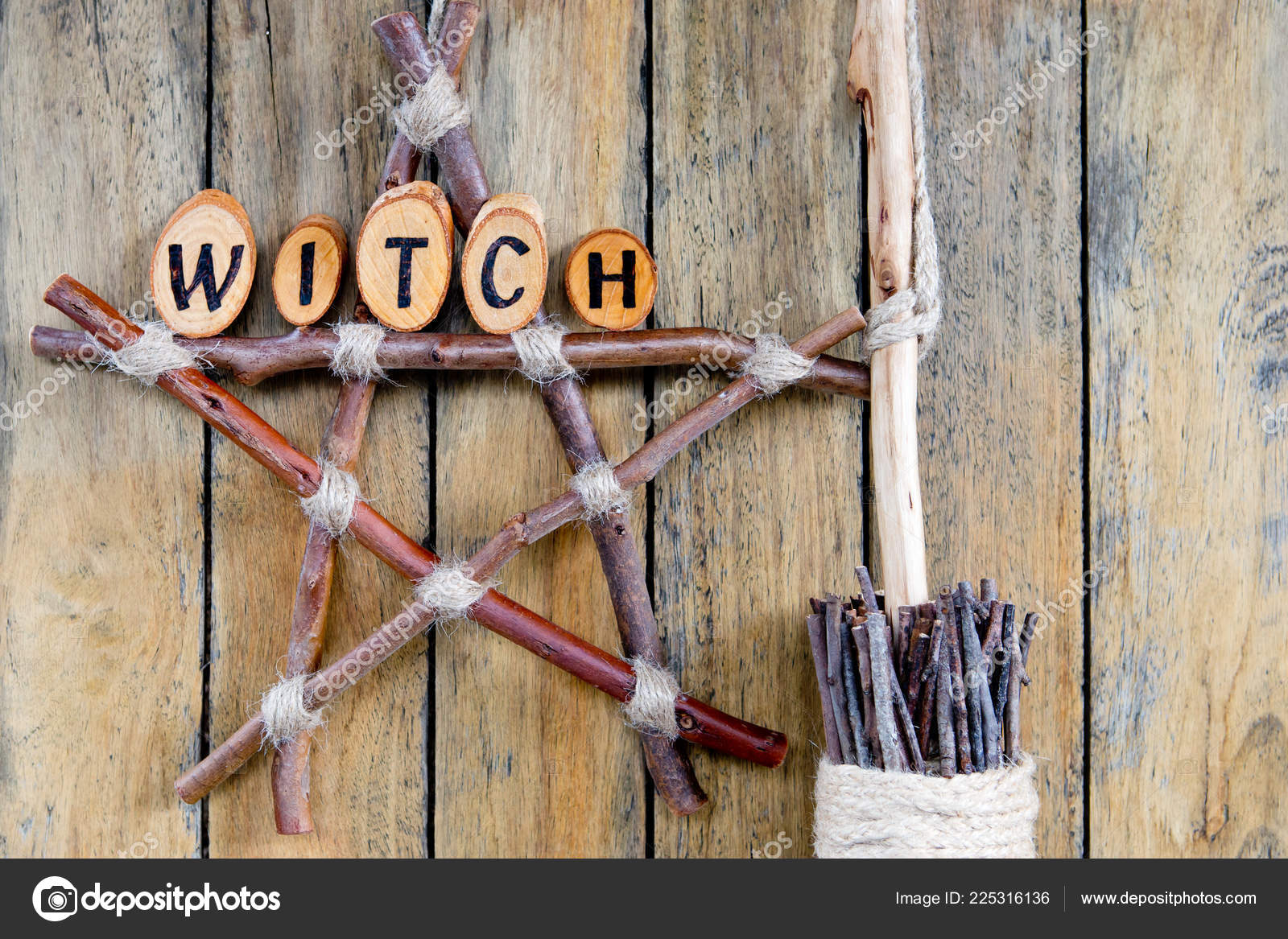 Witch Branch Pentagram Dried Herbs Besom Witches Broom