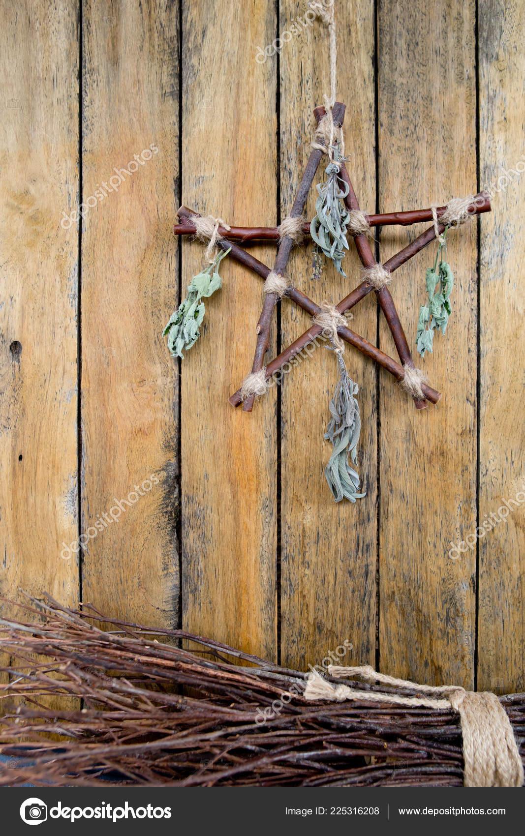 Branch Pentagram Besom Witches Broom Dried Herbs Witchcraft