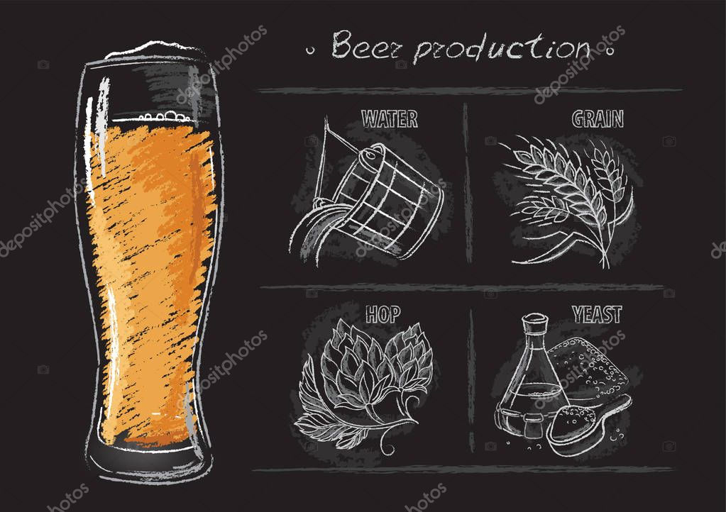 Vintage hand drawn illustrations of brewers components