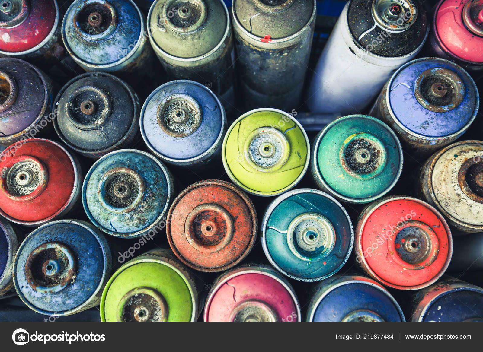 Spraydosen Farben.Spraydosen Von Oben Fotografiert Sie Sehen Alle Farben