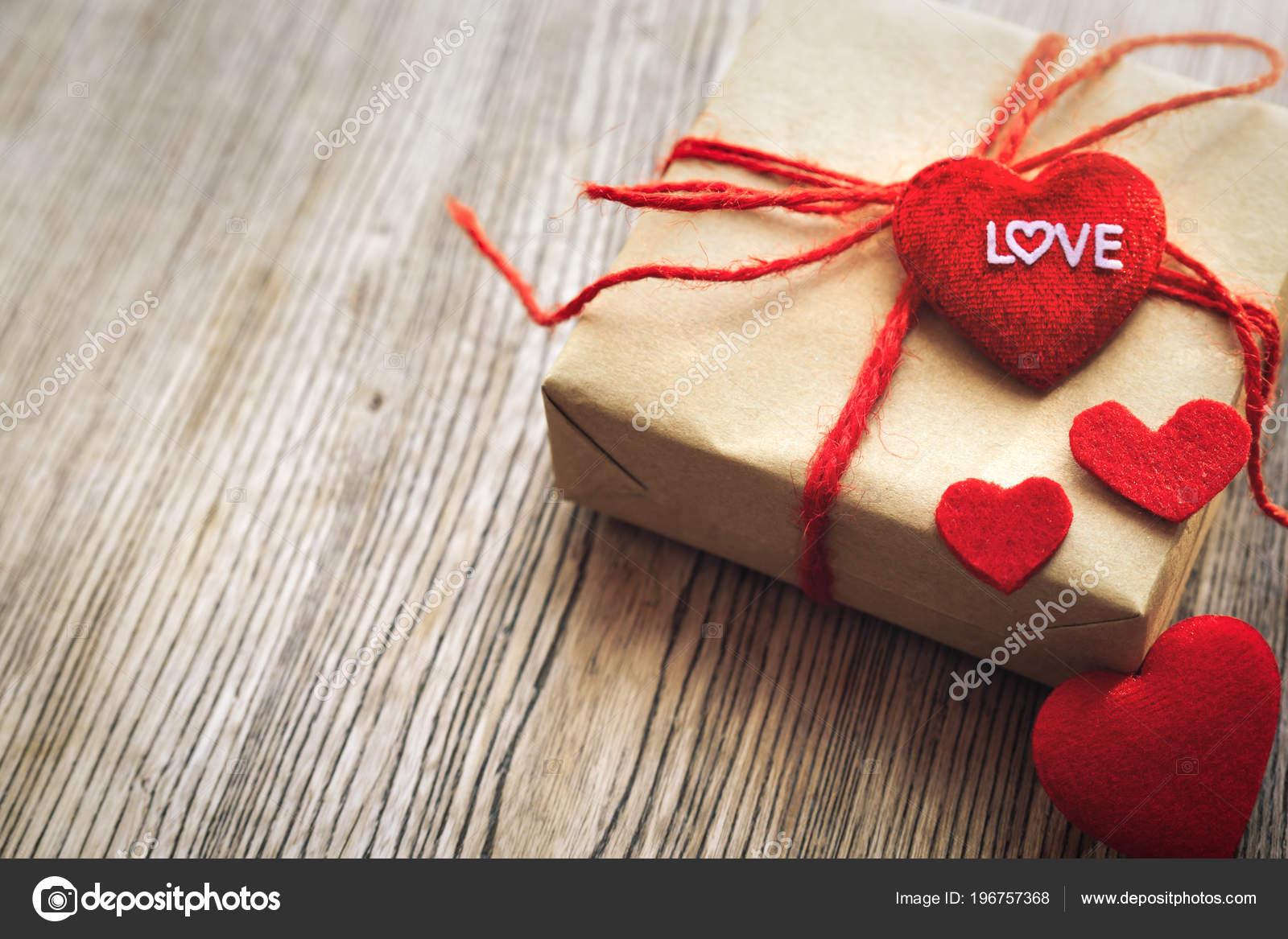 Heart Shape Love Word Gift Box Flower Copye Texting Stock Photo
