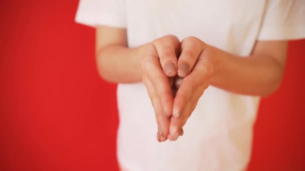 Pojem menstruace, ovulace u dívek. Dívka na červeném pozadí drží tampon, těsnění