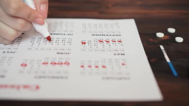 Menstruationskalender mit Wattestäbchen, Nahaufnahme