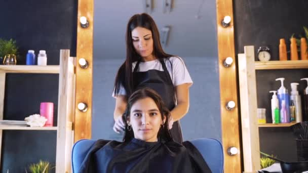 A girl in a beauty salon with a hairdresser. The concept of hair care in the salon, keratin, hair straightening.