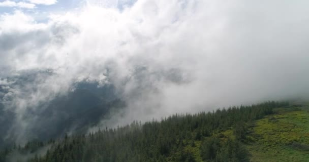 Panorama of the Carpathian Mountains in the fog