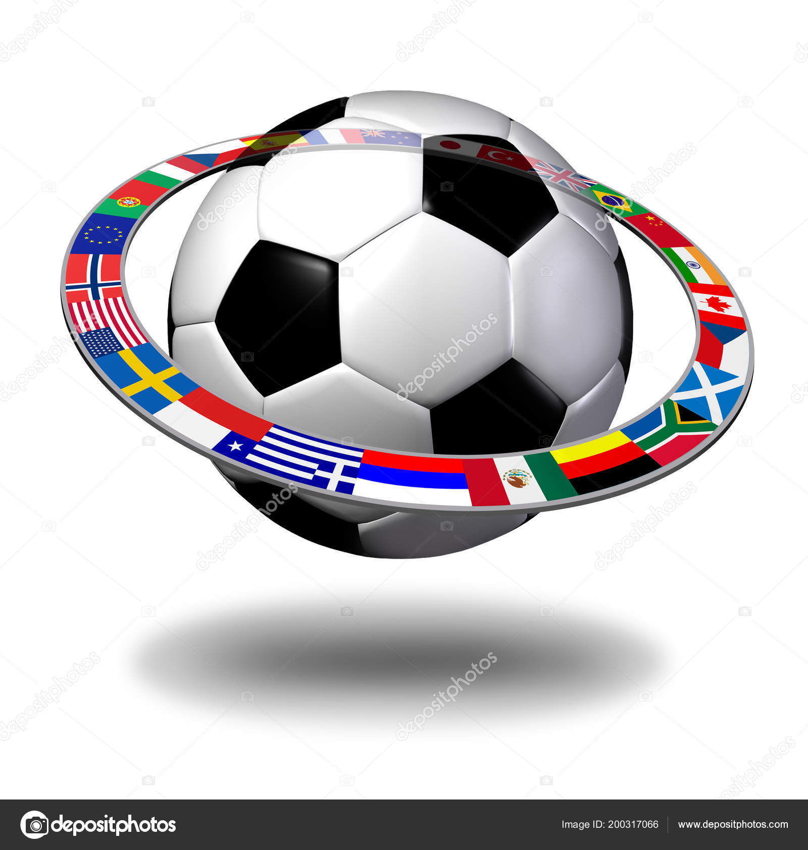 Internationell Fotboll Koncept Som Boll Med Global Flagga Ring Som —  Stockfoto 0f7a40ed36abd