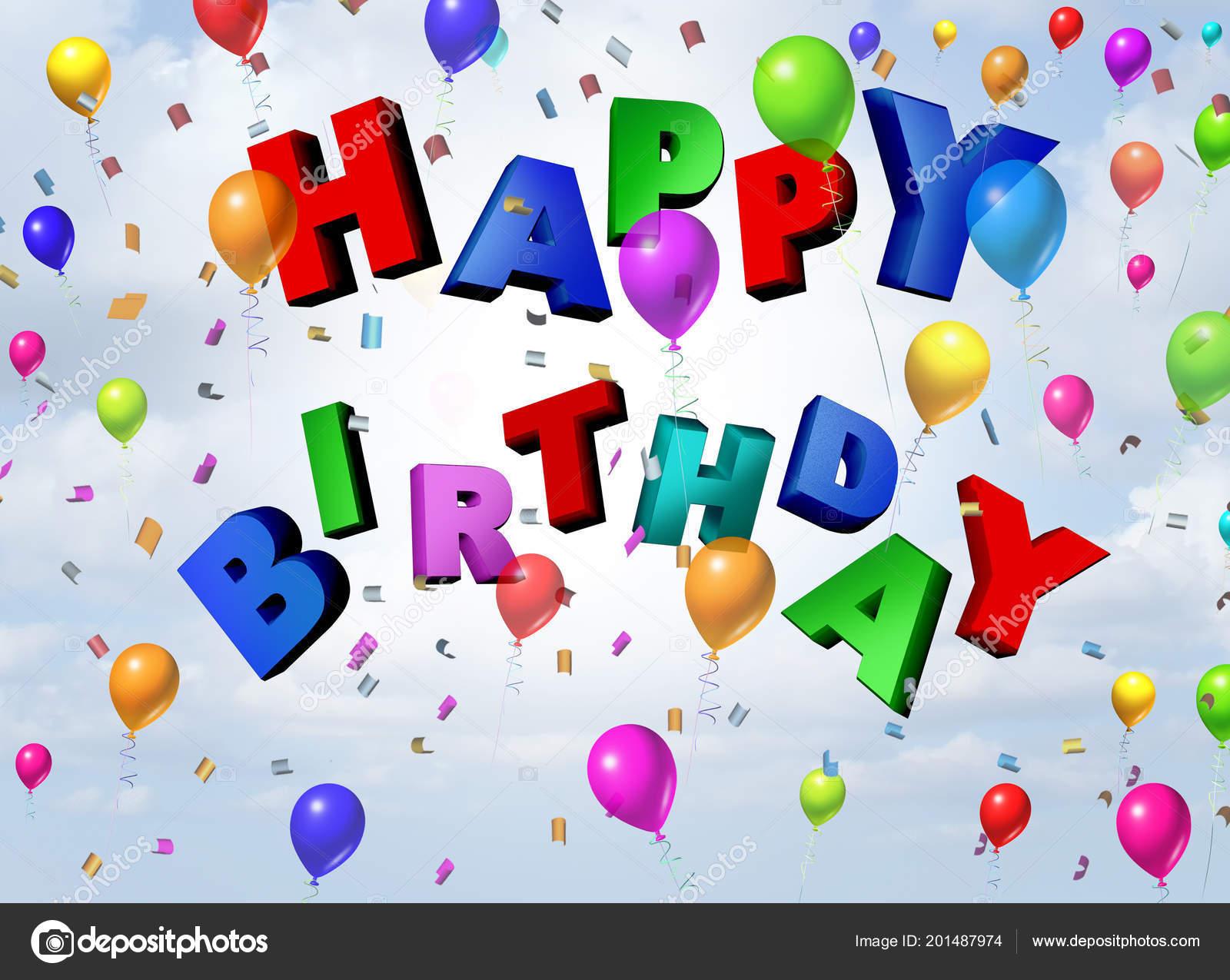 Happy Birthday Celebration Greeting Card Design Confetti Balloons