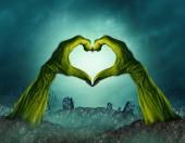 Fényképek Zombi kéz szív alakú egy hátborzongató éjszaka temető háttérben mint egy zöld halloween fegyverek kikerülő temető súlyos vagy ijesztő jelképe egy 3D-s illusztráció stílusban.