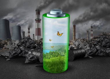 Electric battery concept and electrical energy rechargeable power source as a green fuel helping the environment from old dirty polluting industry with 3d rendering elements.