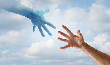 Helping hand concept as saving hands reaching towards each other as a hero rescue and spiritual help idea.