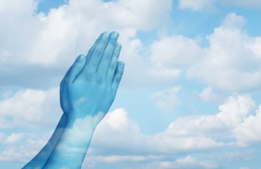Praying and spiritual life concept as hands in worship on a sky background as a symbol for belief and spirituality in religion.