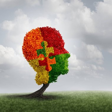 Autism awareness concept and autistic development disorder as a growing tree symbol of communication and the puzzle of social behavior psychology with 3D illustration elements.
