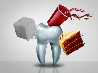 Effects of sugar on teeth as an oral care risk as a dentistry tooth health as sweet food as an acid causing bacteria and molar cavity or cavities decay with 3D illustration elements.