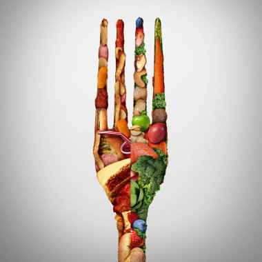 Food decision diet choice concept and nutrition direction or dilemma between healthy good fresh fruit and vegetables or greasy cholesterol rich fast food with a shaped as a fork as a lifestyle choice.