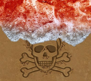 Red tide ocean crisis as deadly algae or natural toxin found in the sea as a marine life death skull on the beach concept  in a 3D illustration style.