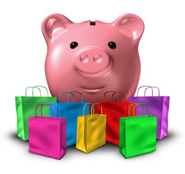Consumer debt shopping and budget spending concept  and consumerism with shopping bags and a piggy bank representing store credit and budgeting as a 3D illustration.
