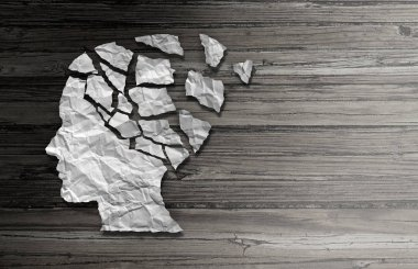 Parkinson patient disease and brain disorder symptoms as a human head made of crumpled paper with broken pieces representing health loss and elderly degenerative neurology illness.