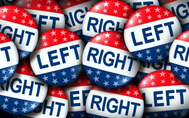 Left and right wing vote badges as a united states election  or American voting concept as a symbol with conservative and liberal political campaign or US politics for government legislators and representatives as a 3D render.