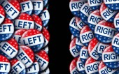 Photo Left wing and the right vote badges as a united states election  or American voting concept as a symbol with conservative and liberal political campaign or US politics for government legislators and representatives as a 3D render.