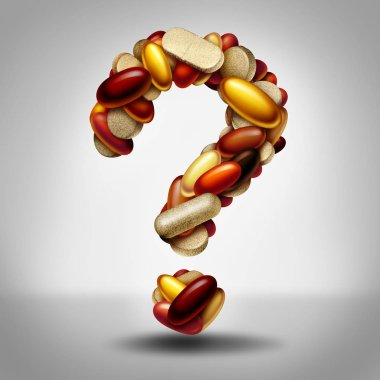 Health supplements as a group of vitamin and supplement pills and capsules shaped as a question mark as a natural nutrient medicine and health safety or uncertainty of  a nutritional aid as a 3D illustration.