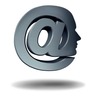 Online profile as an at symbol representing email communication and internet marketing or phishing as a personal media technology icon as a 3D illustration.