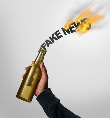 Fake news danger concept and hoax journalistic reporting as a person throwing a molotov cocktail shaped as text as false media reporting risk metaphor with 3D illustration elements.