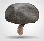 Concept of potency and stability as a potent health symbol or business metaphor for tenacity and stability as a feather hiolding a huge rock in a 3D illustration style.