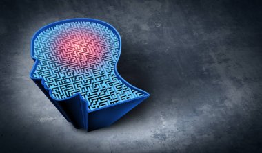 Problem solving as a mental therapy and cognitive exercise symbol as a maze shaped as a human head representing brain training health treatment as a 3D illustration.