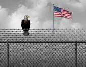 Fotografie amerikanischer Adler an der Sicherheitsgrenze als illegale oder legale Einwanderungs- und Zollbarriere oder Regierungsstillstandskonzept mit einer Flagge der Vereinigten Staaten mit 3D-Illustrationselementen.
