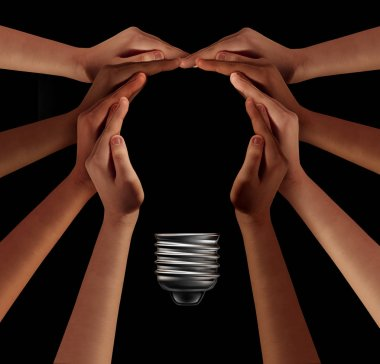 People together imagine and thinking teamwork as a diverse group coming together joining hands into the shape of an inspirational light bulb as a community support metaphor with 3D elements on black.