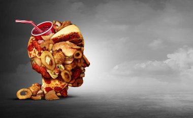 Junk food concept and eating unhealthy snacks psychology and fast food diet psychology as greasy fried restaurant take out as a symbol of overeating and temptation as unhealthy nutrition with 3D illustration elements.