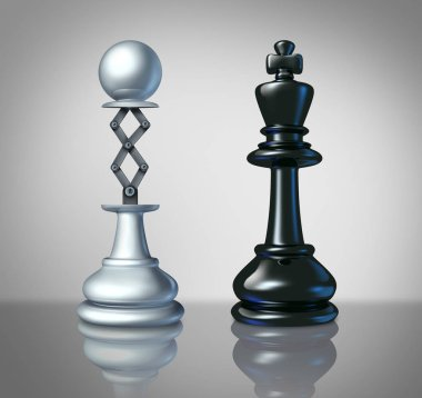 Measuring up to the competition as a business success concept as a chess pawn lifting up to compete with a king as a leadership symbol as a 3D illustration.