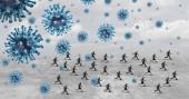 Geschäftsleute oder Geschäftsleute, die vor dem Virus als Coronavirus oder Covid-19 davonlaufen, während Geschäftsleute und Geschäftsfrauen der Krankheit als Wiedereröffnung oder Quarantäne-Konzept mit 3D-Illustrationselementen entkommen.