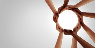 Business Unity and diversity partnership as hands in a group of diverse people connected together shaped as a support circle symbol of group team or teamwork and togetherness.