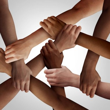 Racism and human civil rights as diverse people of different ethnicity holding hands together as a social solidarity concept of a multiracial group working as united partners. stock vector