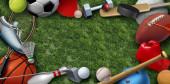 Rekreáció szabadidős sporteszközök füvön egy futball kosárlabda baseball golf foci tenisz labda röplabda és tollaslabda madárka, mint szimbólum az egészséges fizikai aktivitás 3D illusztráció elemei.
