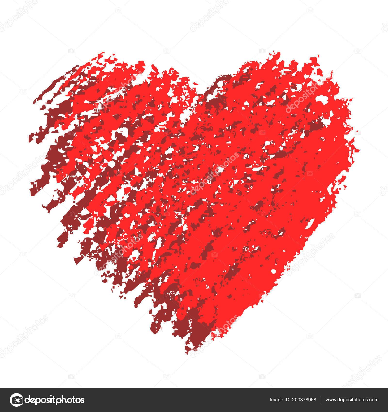 Forme Coeur Saint Valentin Main Craie Crayon Crayon Pastel