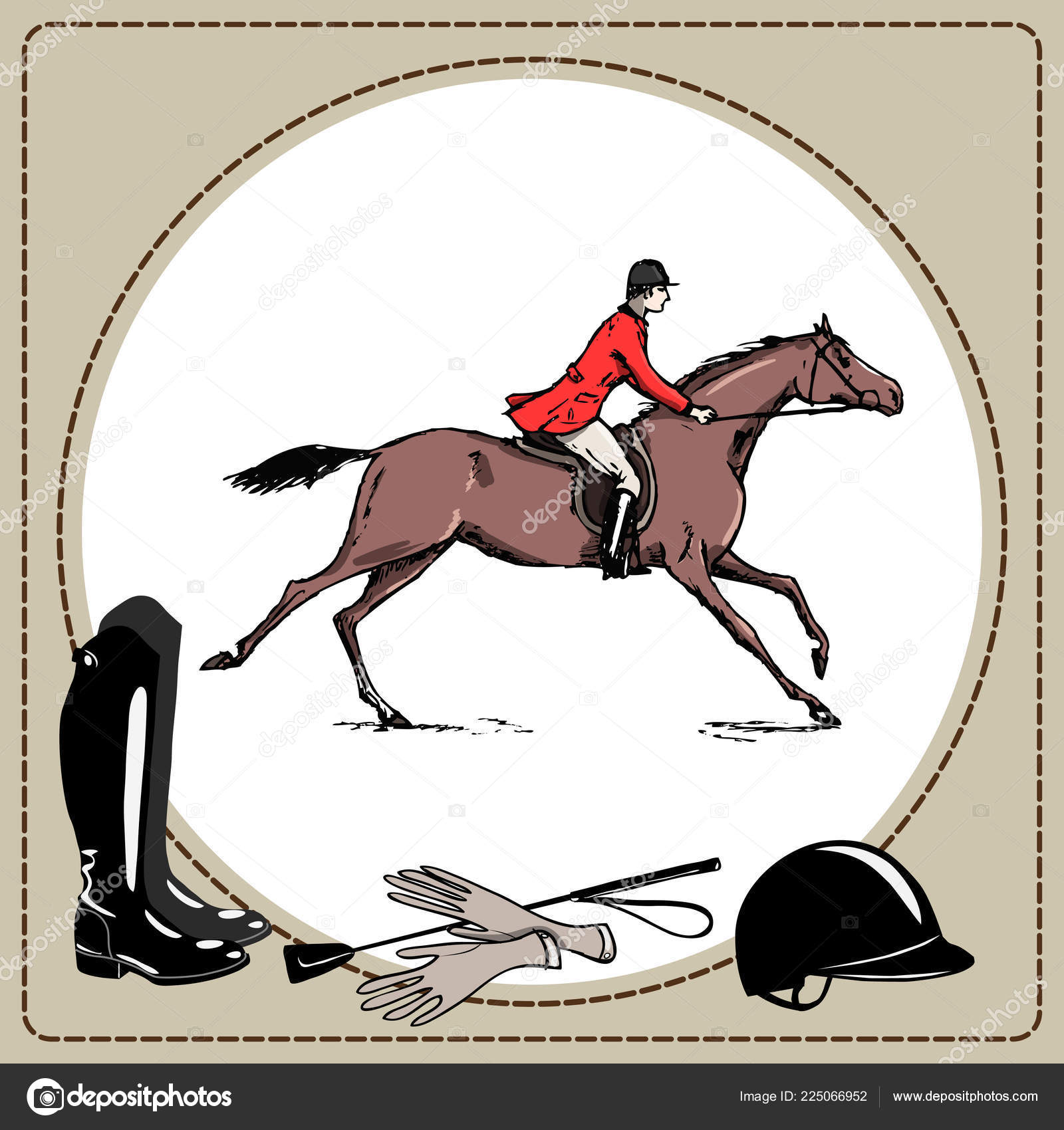 Equestrian Sport Horse Rider Red Jacket England Steeplechase Style Derby Stock Vector C Larisa Zorina 225066952