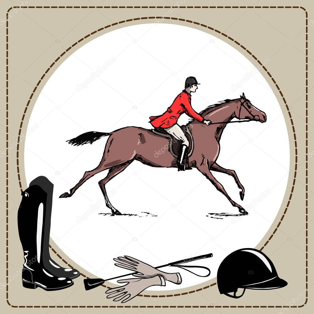 Equestrian Sport Horse Rider In Red Jacket England Steeplechase Style Derby In Leather Frame And Horse Riding Gear Tool Black Boot And Whip Helmet And Gloves Hand Drawing Equine Cartoon Vector